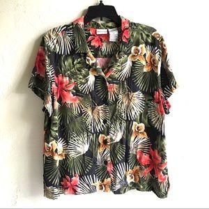 Tropical Print Rayon Camp Shirt ShortSlv SzXL $10